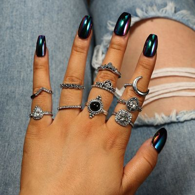 Punk Rhinestone Multilayer Rings 10-Pcs Party Moon Ring Set