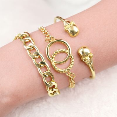 Punk Skeleton Layer Bracelets Chunky Bracelet Sets