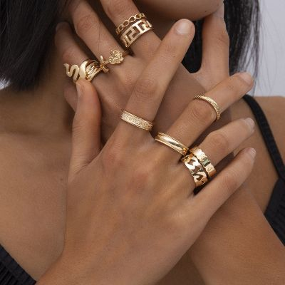 Punk Snake Rose Chunky Ring Hollow-Out Ring Set 10 PC