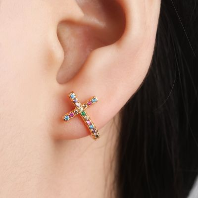 Rainbow Cubic Zirconia Cross Piercing Stud Earrings