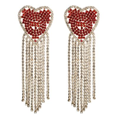 Red Heart Party Earring Rhinestone Fringe Earring