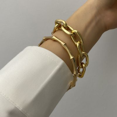 Retro Bamboo Bangle Coin Charm Layer Chain Bracelets