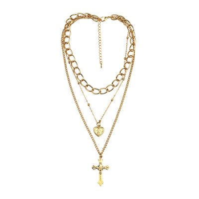 Retro Heart&Cross  Pendants  Multilayer Necklaces Set