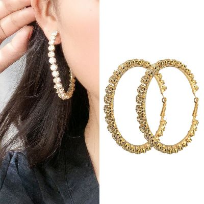Rhinestone Big Hoop Earrings Trendy Party Earring