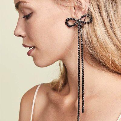 Rhinestone Bow Long Chain Earrings