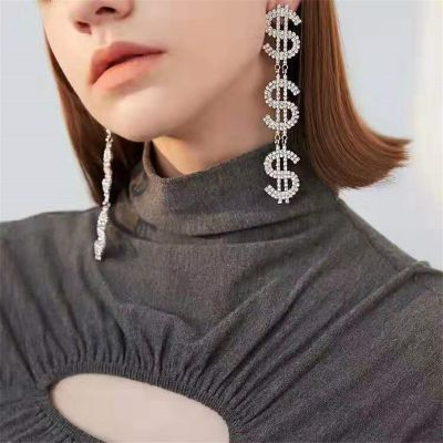 Rhinestone Dollar Drop Dangle Earring Sexy Statement Earrings