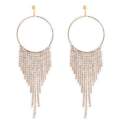 Rhinestone Fringe Bohemia Circular Earrings
