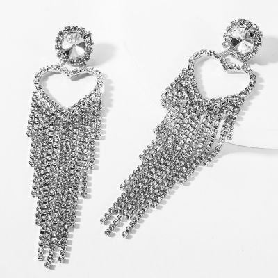 Rhinestone Fringe Earring Heart Fashion Party Earring