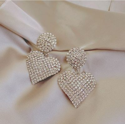 Rhinestone Heart Drop Earring Jewelry Gifts for Woman