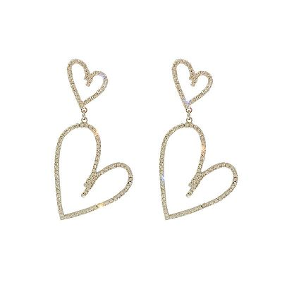 Rhinestone Hollow-out Double Hearts Dangle Earrings with S925 Pin
