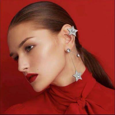 Rhinestone Star Clip-on Earrings with Piercing Drop Earring