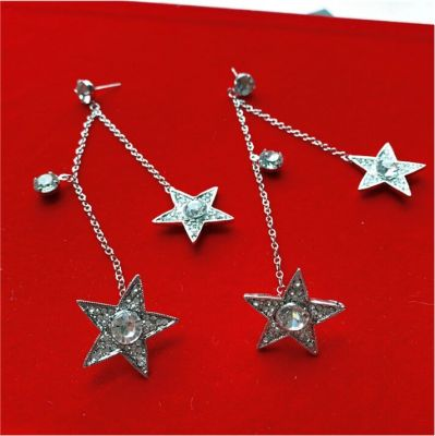 Rhinestone Star Clip-on Earrings with Piercing Drop Earring