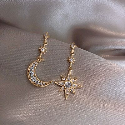 Rhinestone Star Moon Earrings Cute Mismatched Earring