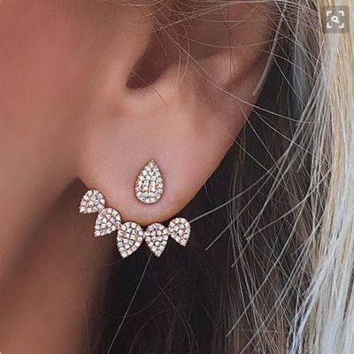 Rhinestone Water Drop Ear Jacket Double Side Trendy Earrings