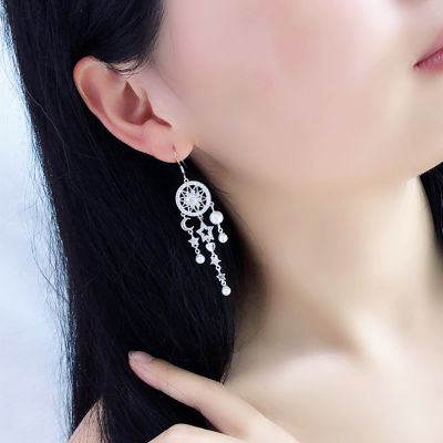 Rhinestones Dream Catcher Pearls Tassel Drop Dangle Earrings