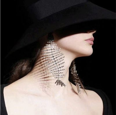 Rhinestones Fish Bone Dangle Earring Party Statment Earrings