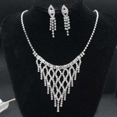 Rhinestones Jewelry Set Bridal Jewelry Necklace and Earring Set
