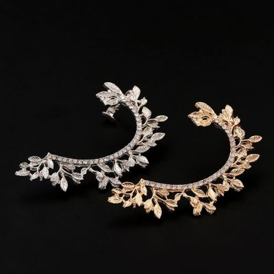 Rhinestones Leaf Clip on Earrings Ear Cuff for Party