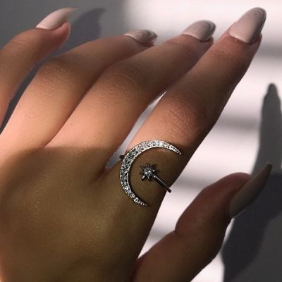 Rhinestones Star&Moon Adjustable Bridal Rings