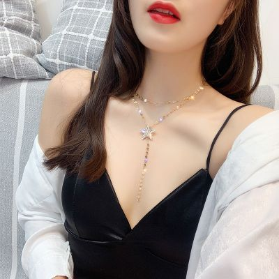 Rhinestones Star Pendant Layered Necklace Cute Collarbone Necklace