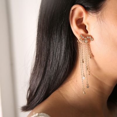 Rhinestones Stars Tassel Drop Longer Earrings for Bridal