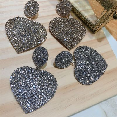 Rhinestones Sweet Heart Drop Earrings Bridal Statement Earring
