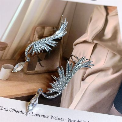 Rhinestones Wing Ear Cuff with S925 Piercing Earrings for Wedding