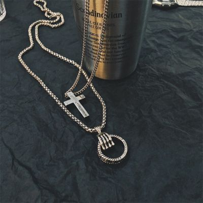 Ring&Cross Pendants Mans Punk Necklace in Silver
