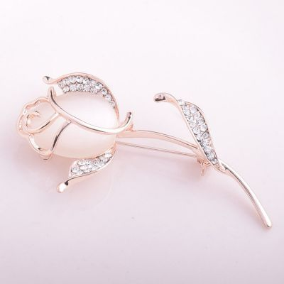 Rose Opal Brooch Pins Bridal Jewelry