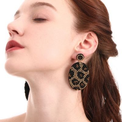 Round Beaded Leopard Drop Earring Vintage Handmade Earring