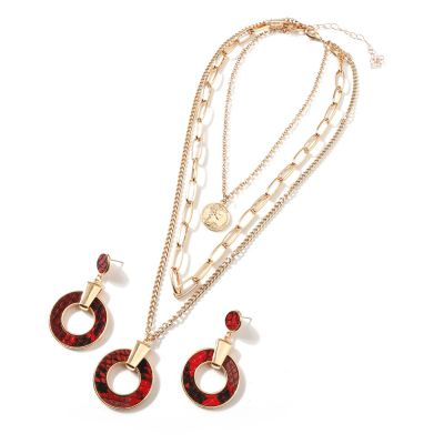 Round Snake-Print Layered Necklace and Earrings Set