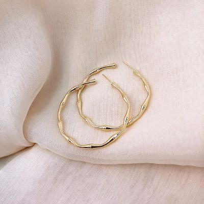S925 Pins Fashion Bamboo Hoop Earrings Statement Earring
