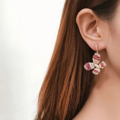 S925 Silver Rhinestones Butterfly Drop Dangle Earring for Wedding