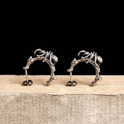 S925 Sterling Silver Ants Gothic Hoop Earring for Women&Men