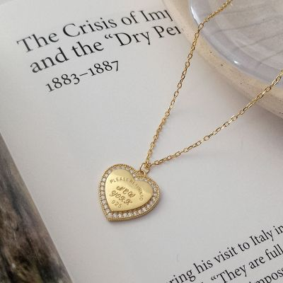 S925 Sterling Silver Word-printed Heart Necklace Jewelry Gifts