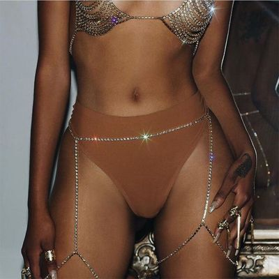 Sexy Crystal Belly and Leg Chains Bikini Body Chain