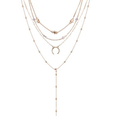 Sexy Gold Moon Elephant Layered Necklace Chain Choker