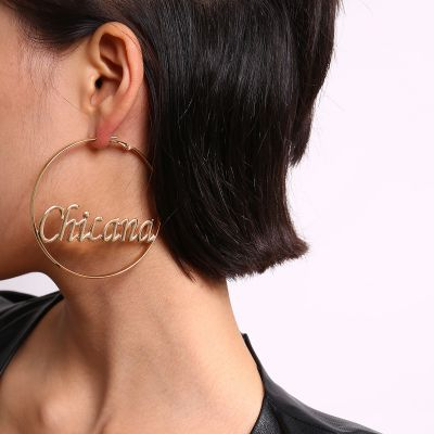 Sexy Hollow-out Letter Big Hoop Earrings Party Statement Earring