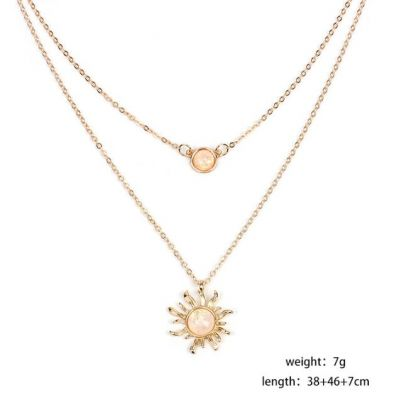 Sexy Sun Flower Chain Necklace Double Layer Necklace Choker