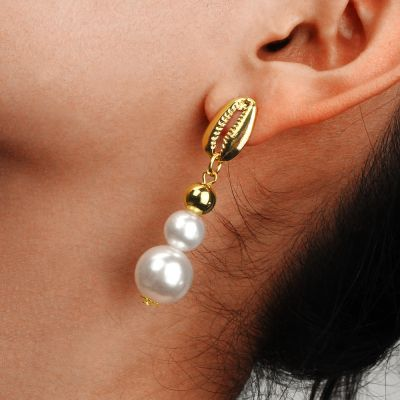 Shell Double Pearls Drop Earrings Boho Dangle Earring