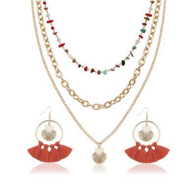 Shell Tassel Earring Necklace Bohemian Jewelry Sets
