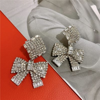 Silver Big Rhinestone Bowknot Drop Earring Bridal Statement Earring