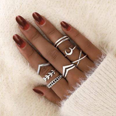 Silver Boho Moon Geometric Ring Set Multilayer Rings 7 Pcs