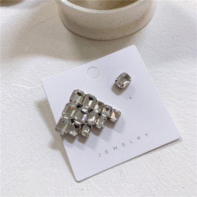 Silver Crystal Geometric Ear Studs Mismatched Earrings