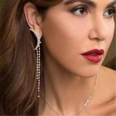 Silver Crystal Moon Tassel Drop Earring Mismatched Earrings