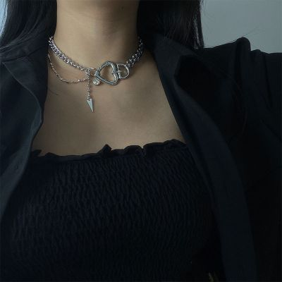 Silver Fashion Crystal Heart Choker Necklace Chain for Party