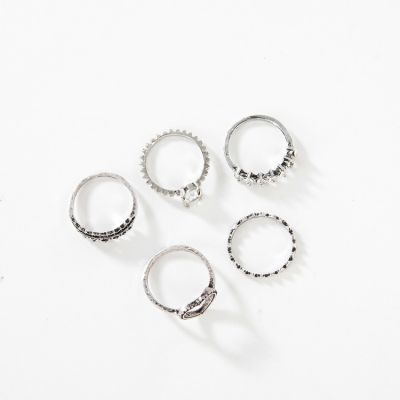 Silver Fashion Heart Flower Midi Ring Layer Ring Set 6 PC