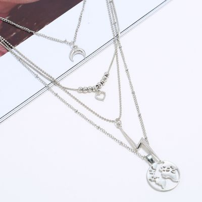 Silver Layering Necklace Moon Map Pendants Chain Necklaces for Party