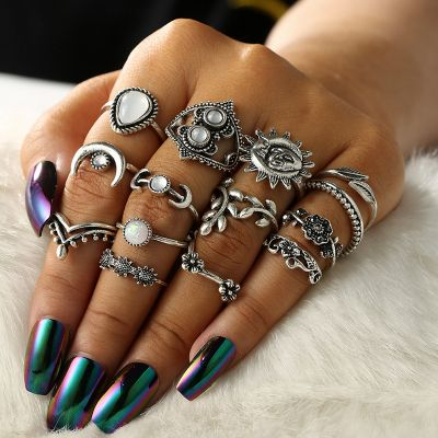 Silver Moon&Sum Midi Rings 14 Pcs Bohemia Ring Set