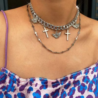 Silver Punk Cross Angel Chunky Layered Necklace for Party
